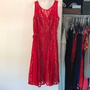 Taylor - red cocktail lace dress. Never worn.
